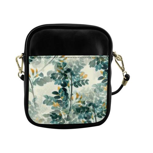 Vintage Yellow Floral Leaf Branch Plant Sling Bag (Model 1627)