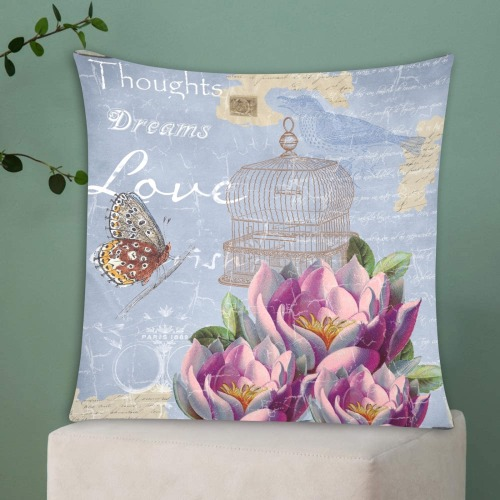 """VICTORIAN VINTAGE Custom Zippered Pillow Cases 20""""x20"""" (Two Sides)"""