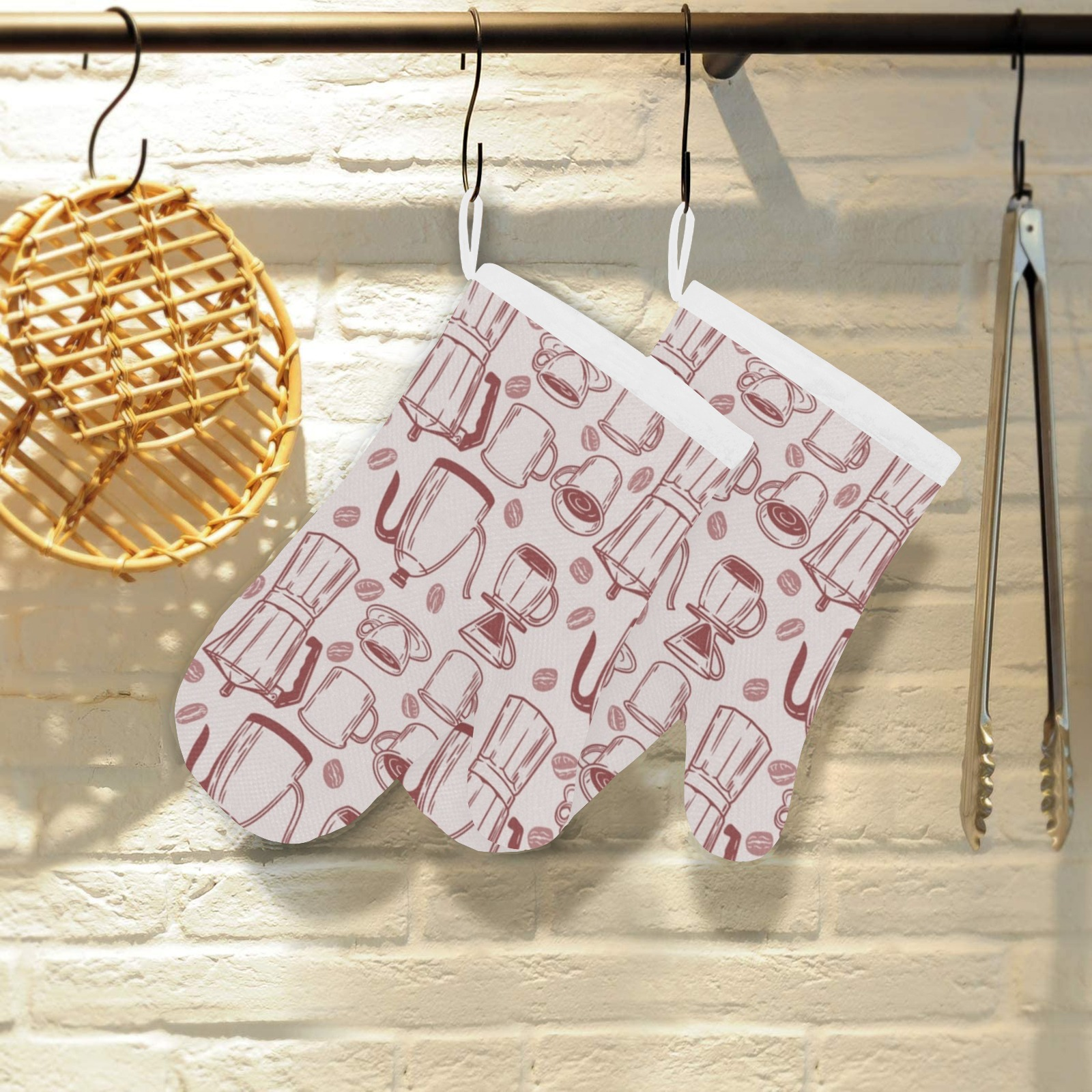 Vintage Coffee Time Linen Oven Mitt (Two Pieces)