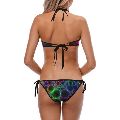 Sparkling Spider Web Fractal Custom Halter & Side Tie Bikini Swimsuit (Model S06)