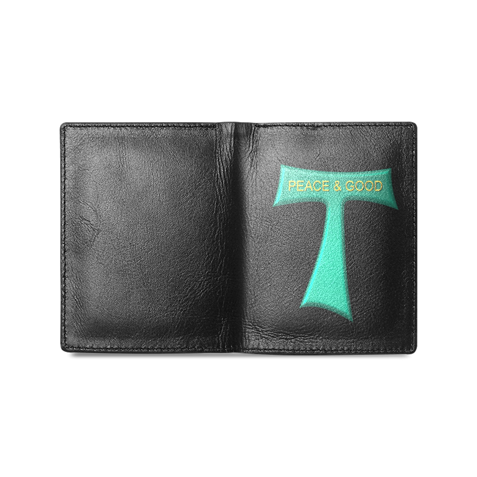 Franciscan Tau Cross Peace and Good Green Steel Metallic Men's Leather Wallet (Model 1612)