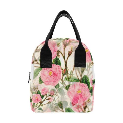 Vintage Pink Rose Garden Blossom Zipper Lunch Bag (Model 1689)