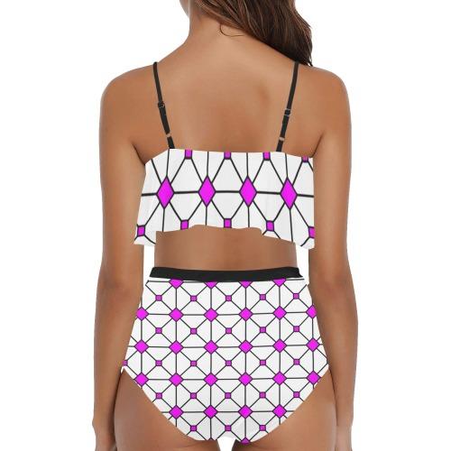 stain glass window shell pink High Waisted Ruffle Bikini Set (Model S13)