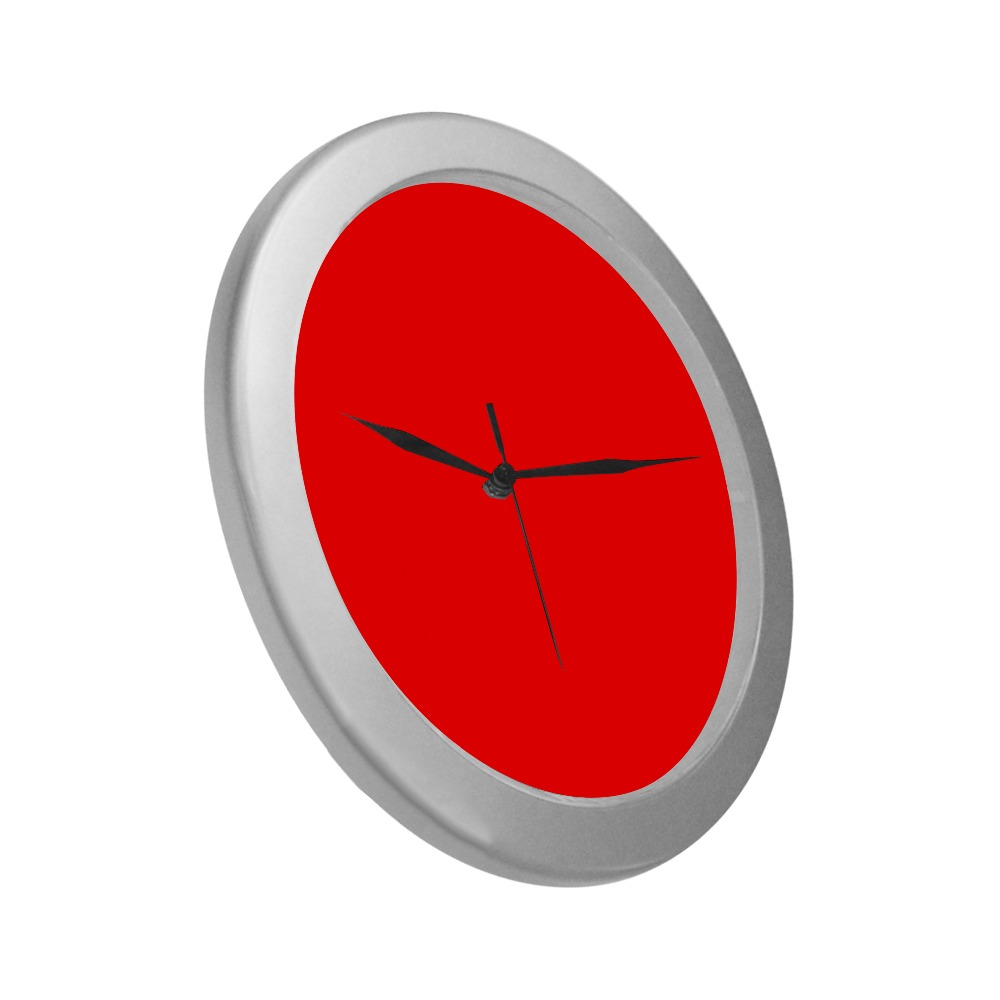 Merry Christmas Red Solid Color Silver Color Wall Clock