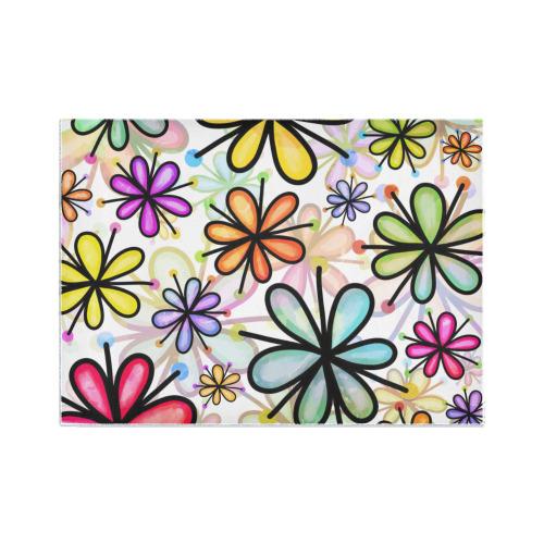 Watercolor Rainbow Doodle Daisy Flower Pattern Area Rug7'x5'