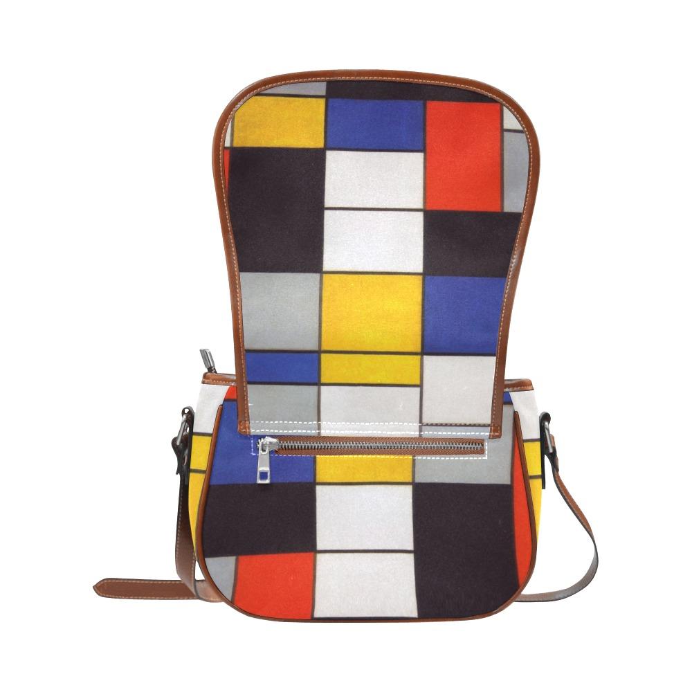 Composition A by Piet Mondrian Saddle Bag/Large (Model 1649)