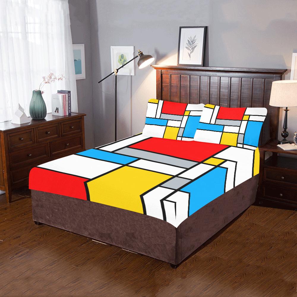 Mondrian Style Color Composition Geometric Retro Art 3-Piece Bedding Set