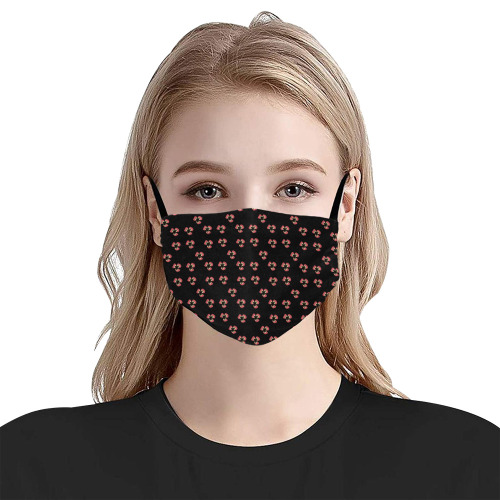 red pansies Flat Mouth Mask with Drawstring (Model M07)