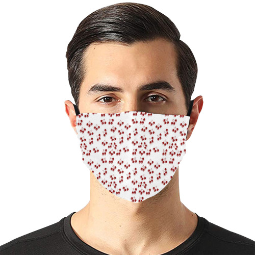 red cherries Flat Mouth Mask with Drawstring (Model M07)