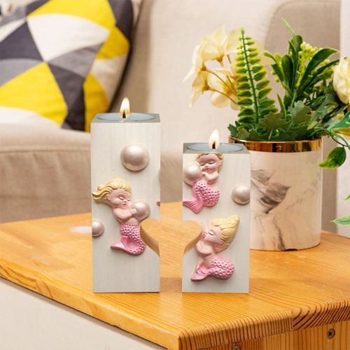 3 Pink Mermaids / Pearls Wooden Candle Holder (Without Candle)