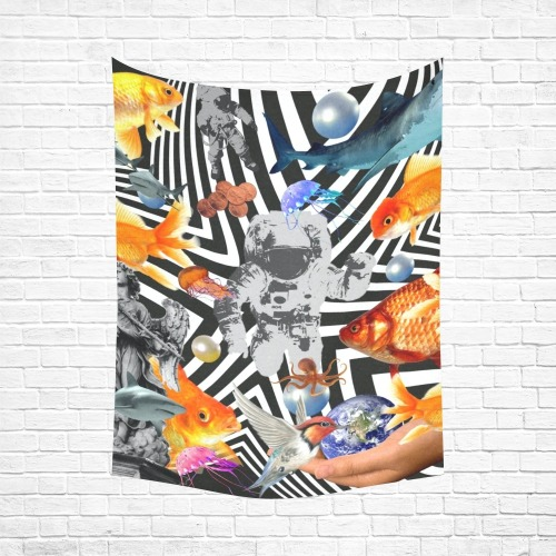 """POINT OF ENTRY 2 Cotton Linen Wall Tapestry 60""""x 80"""""""