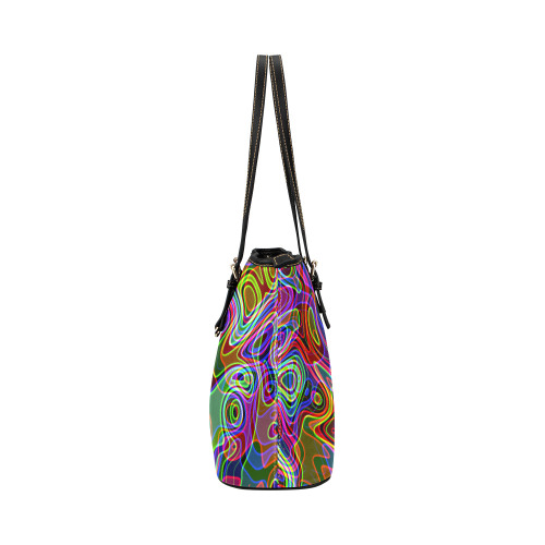 Abstract Retro Neon Pattern Background Design Leather Tote Bag/Small (Model 1651)