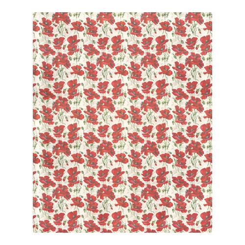 Red Poppy Flowers Vintage Floral Pattern 3-Piece Bedding Set
