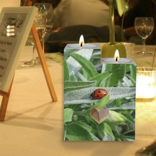 Sage & Lady Bug Wooden Candle Holder (Without Candle)