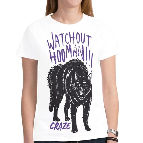 Critical Craze Watchout Hooman New All Over Print T-shirt for Women (Model T45)