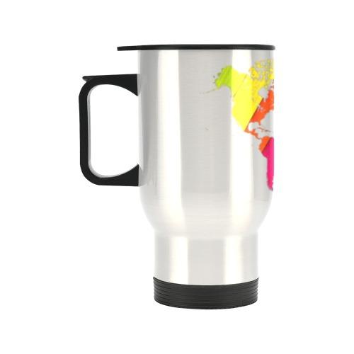 world map rainbow love Travel Mug (14oz)