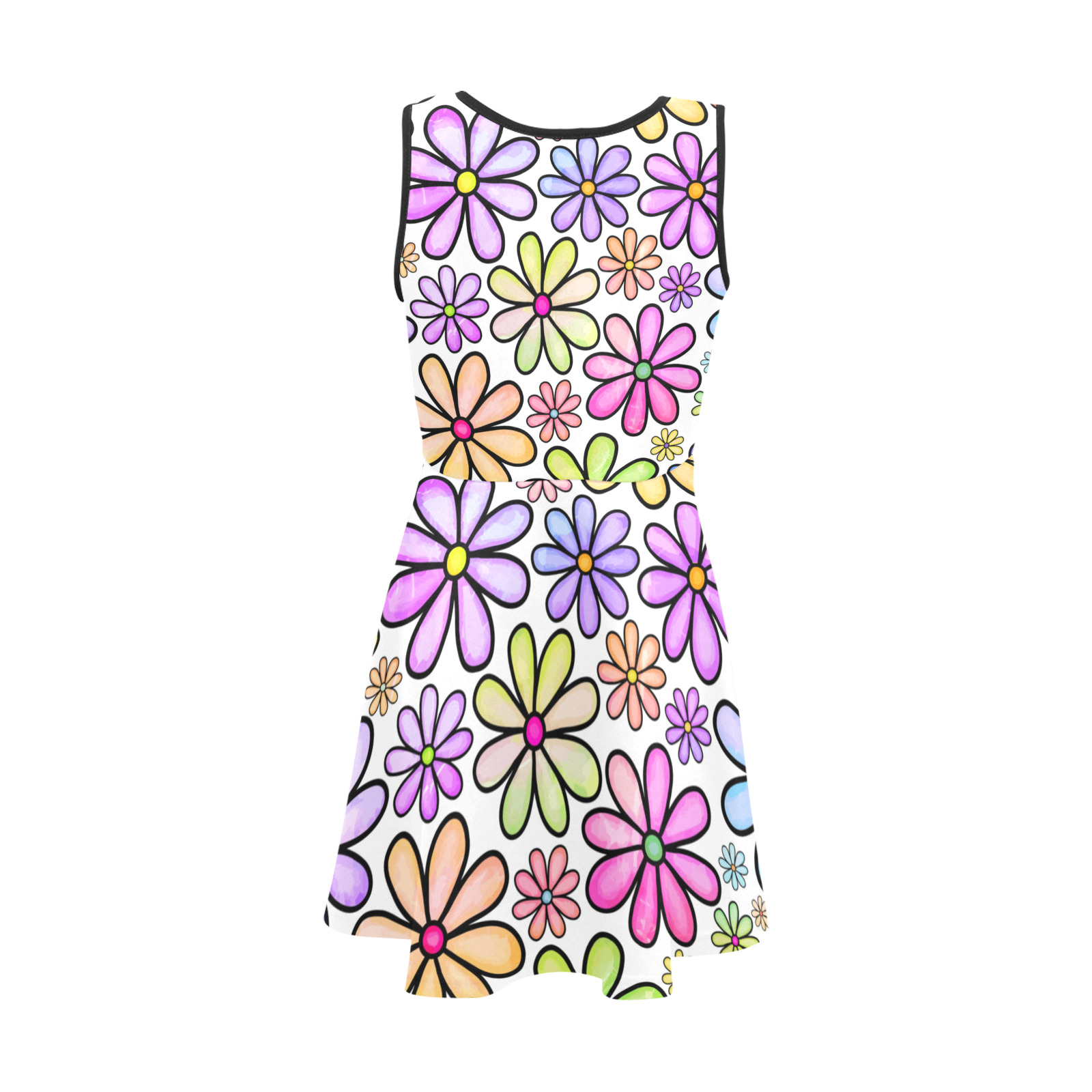 Watercolor Rainbow Doodle Daisy Flower Pattern Girls' Sleeveless Sundress (Model D56)