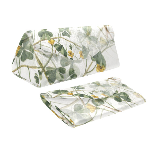 Vintage Yellow Floral Clover Foliage Plant Custom Foldable Glasses Case