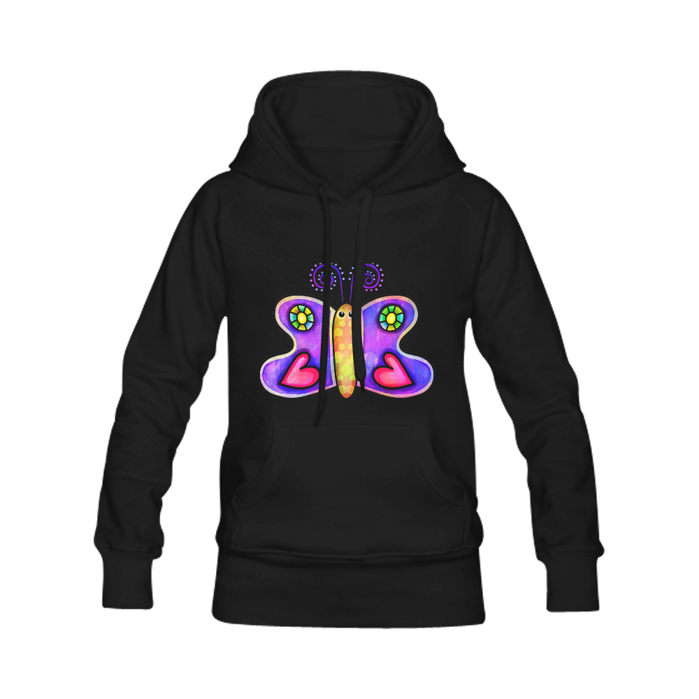 Lilac Watercolor Butterfly Doodle Cartoon Women's Classic Hoodies (Model H07)