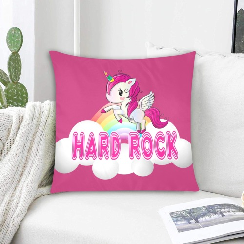 """hard rock unicorn PINK Custom Zippered Pillow Cases 18""""x18"""" (Two Sides)"""