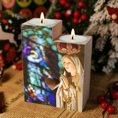 Virgin Mary 14 Wooden Candle Holder (Without Candle)