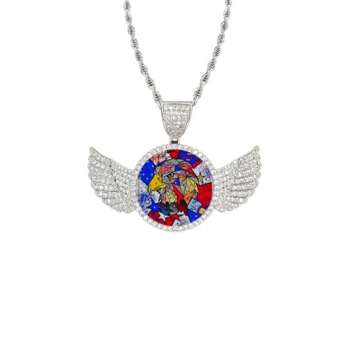 USA by Nico Bielow Wings Silver Photo Pendant with Rope Chain