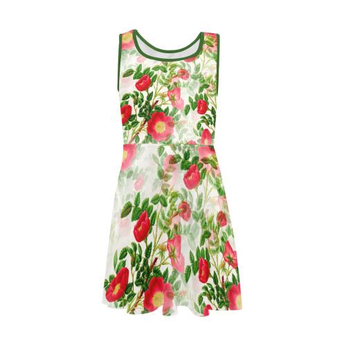Vintage Red Floral Blossom Girls' Sleeveless Sundress (Model D56)