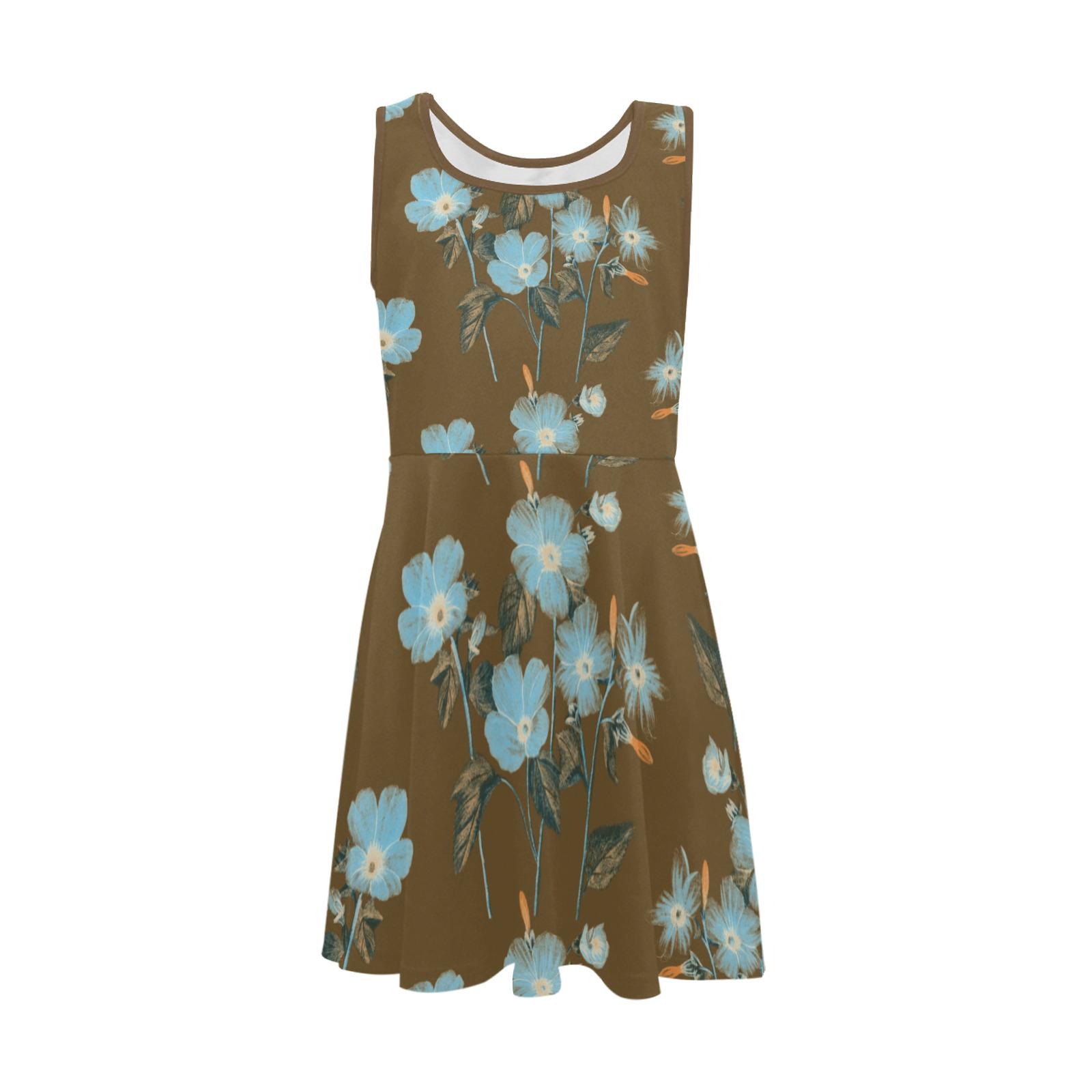 Rustic Blue Floral Bouquet Girls' Sleeveless Sundress (Model D56)