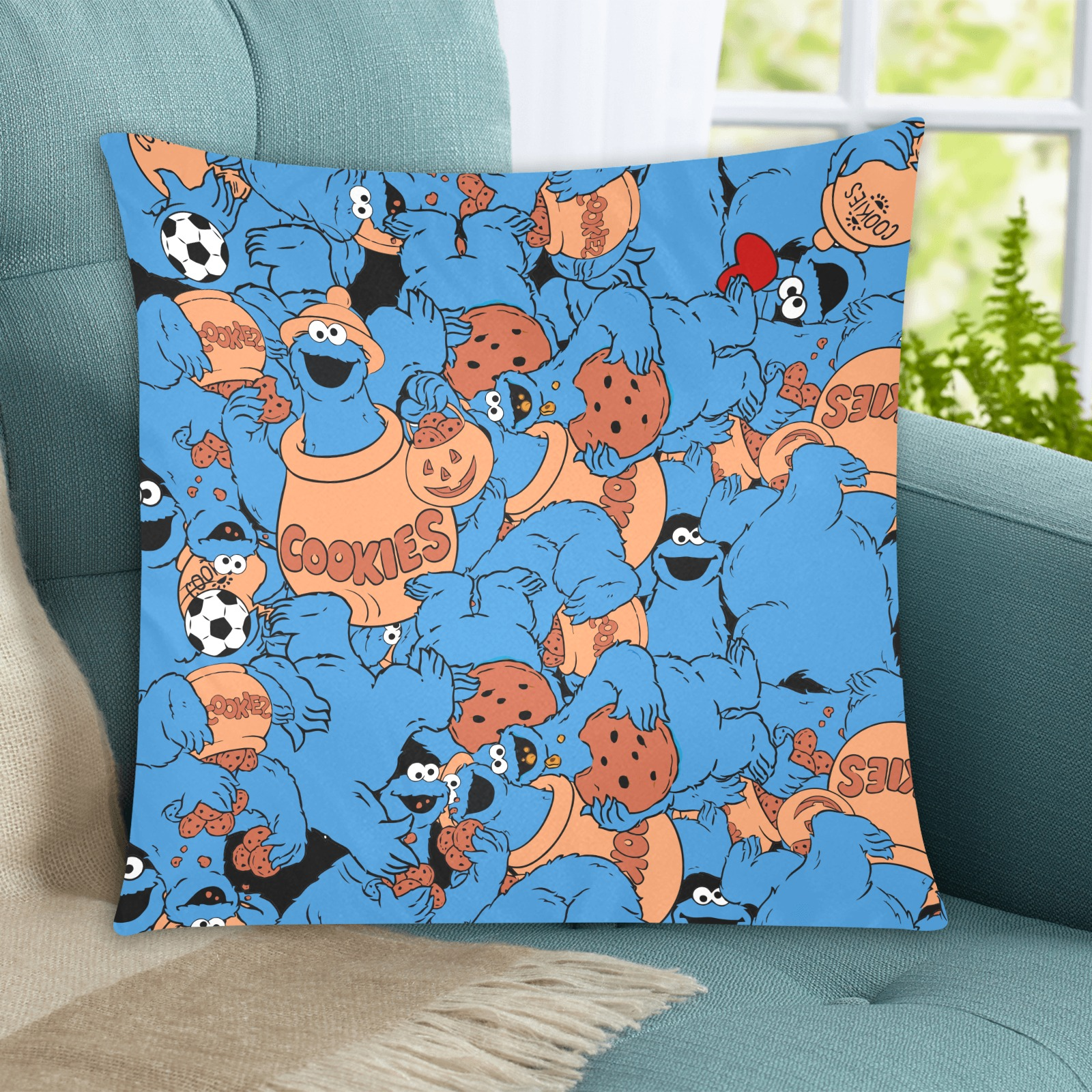 """cookie monster Custom Zippered Pillow Cases 20""""x20"""" (Two Sides)"""