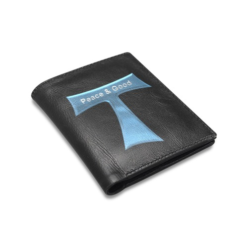 Franciscan Tau Cross Peace and Good  Blue Metallic Men's Leather Wallet (Model 1612)