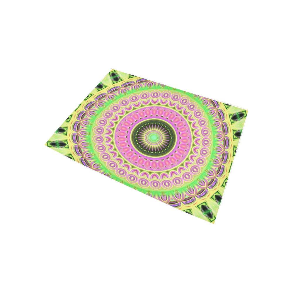 Neon Mandala Purple with Lime Green Area Rug 5'3''x4'