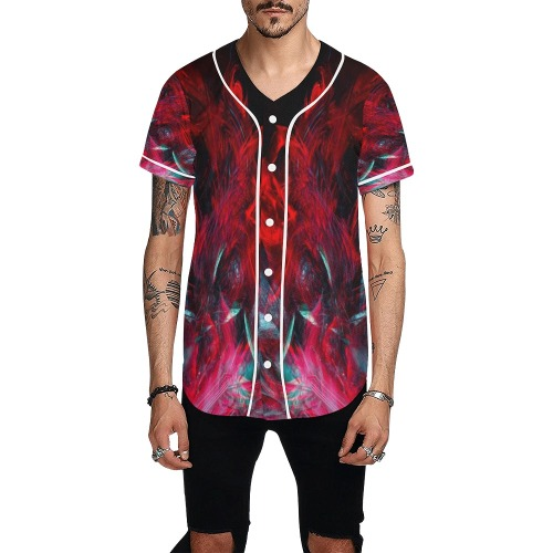 Abstract-Red All Over Print Baseball Jersey for Men (Model T50)