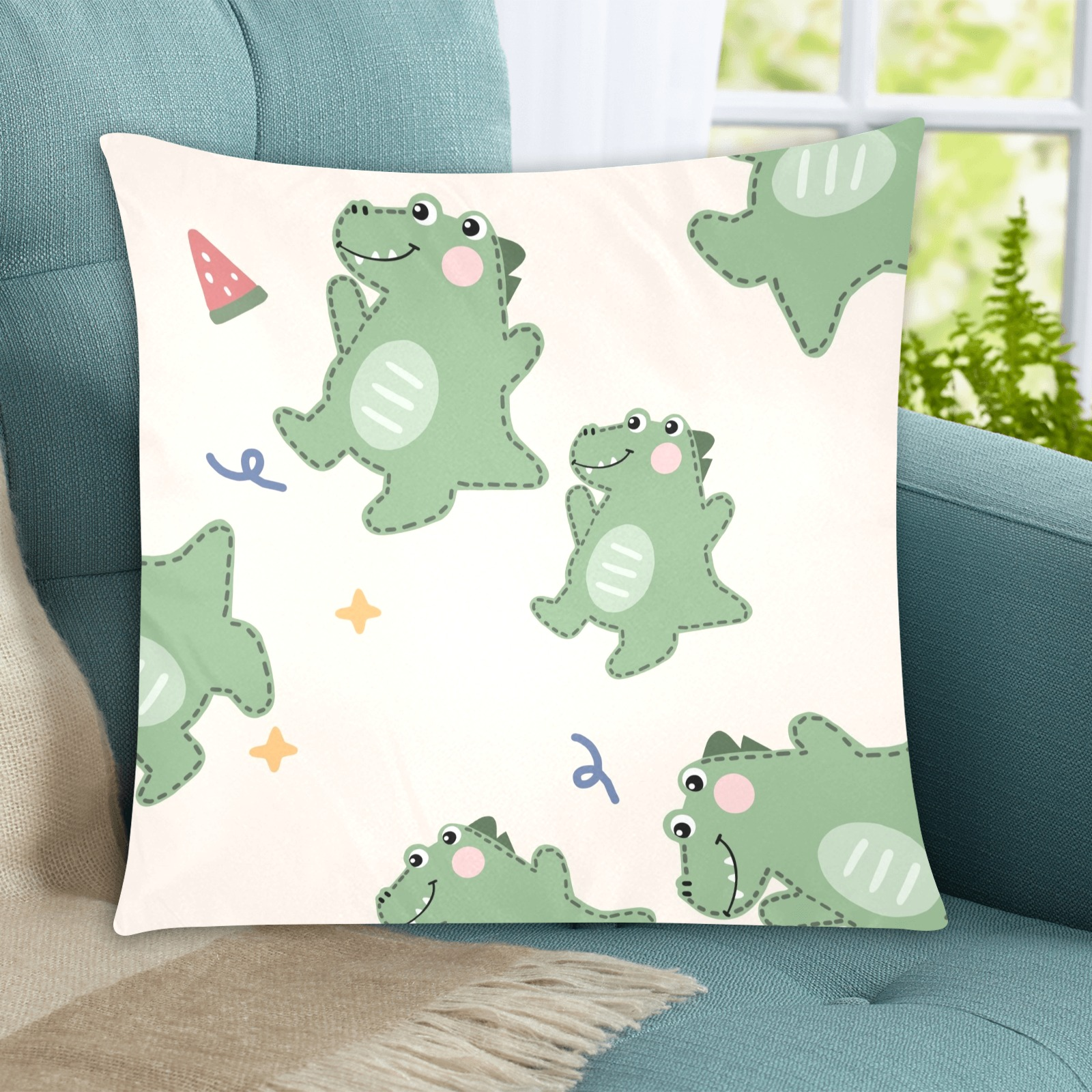 """Dinosaur Custom Zippered Pillow Cases 20""""x20"""" (Two Sides)"""