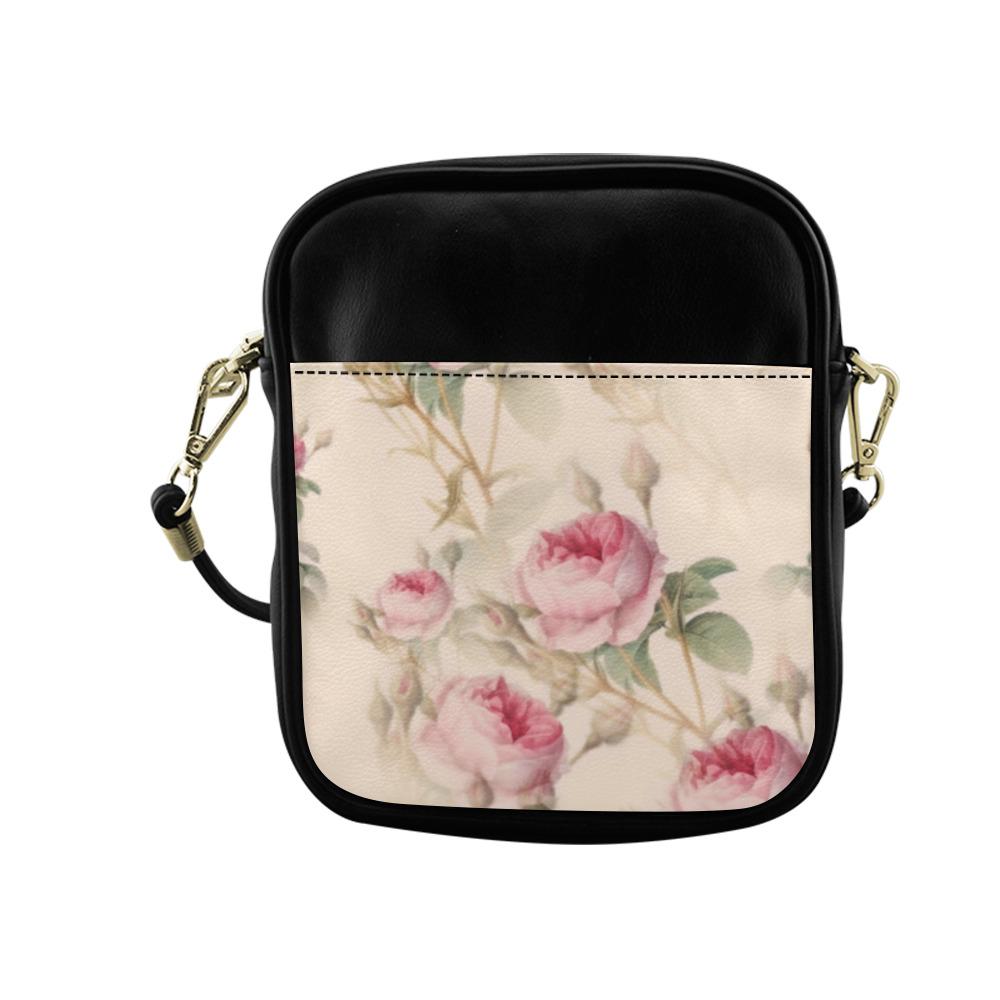 Vintage Pink Rose Garden Pattern Sling Bag (Model 1627)