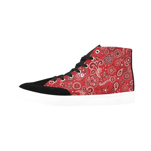 Red Paisley Herdsman High Top Shoes for Men (Model 038)