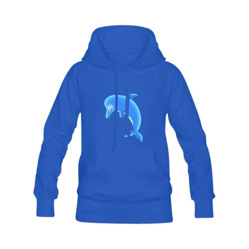 Blue Dolphin Sealife Cartoon Women's Classic Hoodies (Model H07)