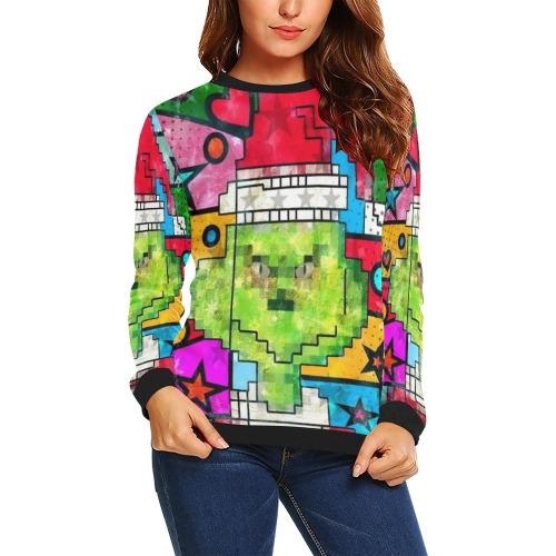 Green Christmas by Nico Bielow All Over Print Crewneck Sweatshirt for Women (Model H18)