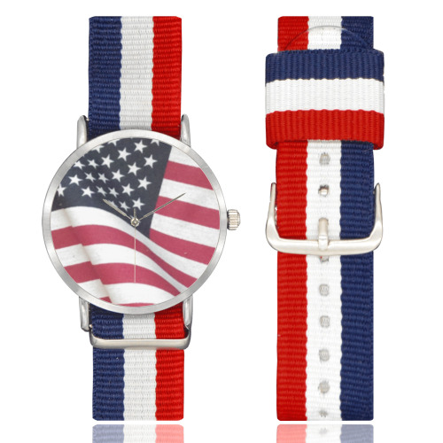 Flapping American Flag Nylon Strap Watch (Model 215)
