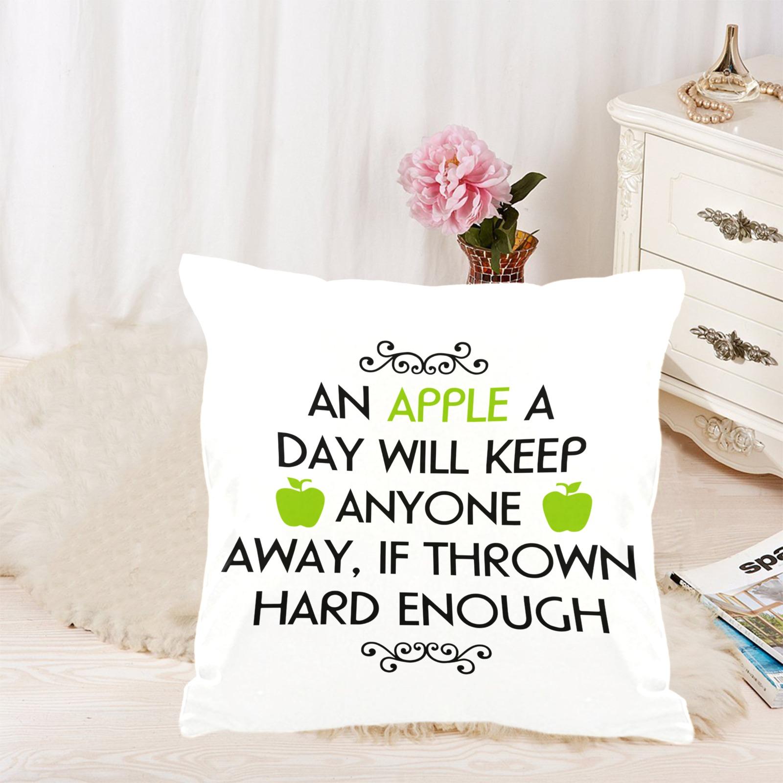 "Apple a Day Custom  Pillow Case 18""x18"" (one side) No Zipper"