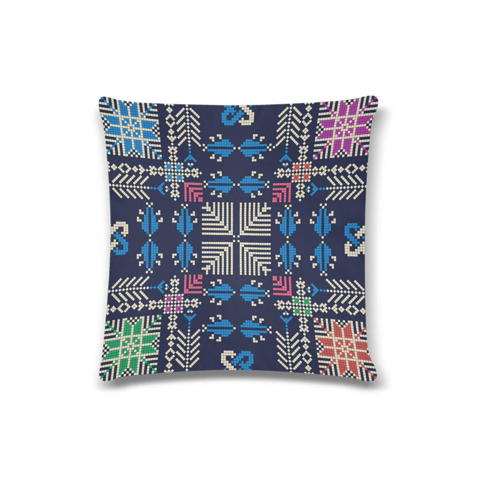 "Tatreez 47 Custom Zippered Pillow Case 16""x16""(Twin Sides)"