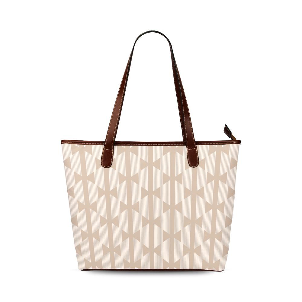 Beige Bows on Cream Pattern Shoulder Tote Bag (Model 1646)