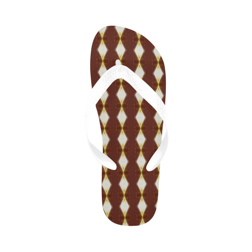 African Cream Diamond White Strap Flip Flops for Men/Women (Model 040)