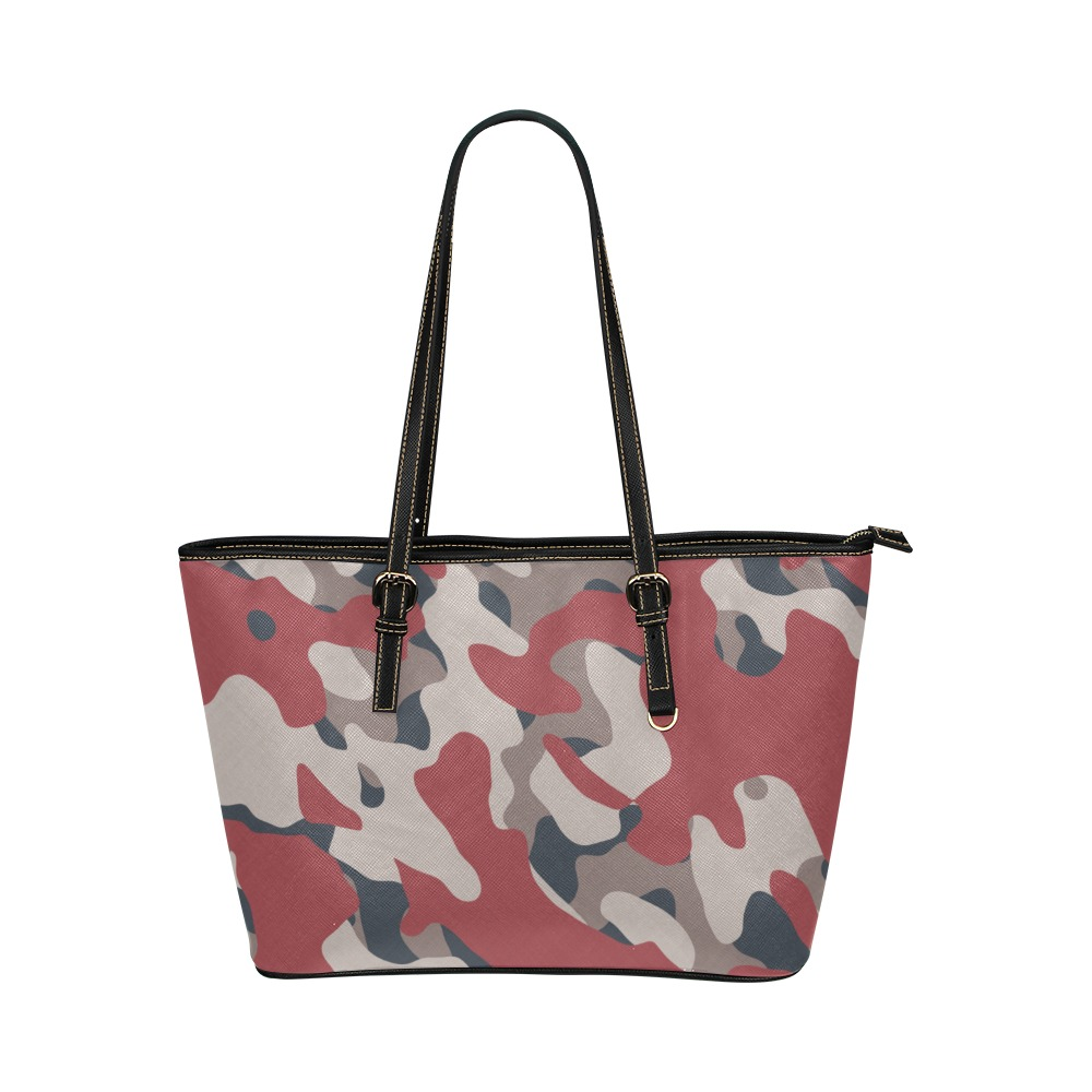 Camouflage Leather Tote Bag/Small (Model 1651)