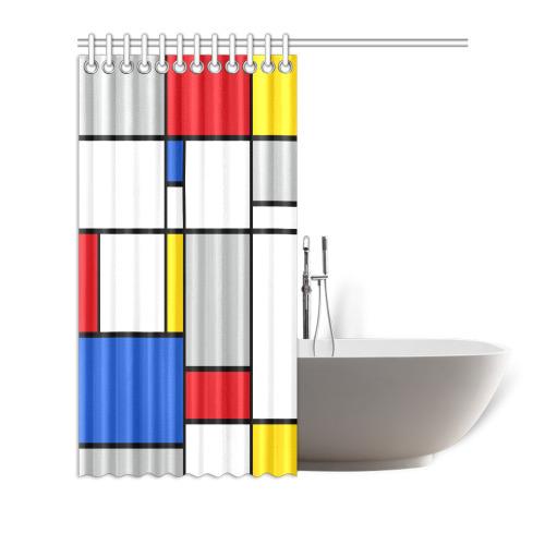 "Geometric Retro Mondrian Style Color Composition Shower Curtain 72""x72"""