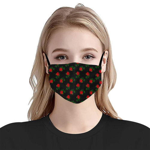 red roses black Flat Mouth Mask with Drawstring (Model M07)