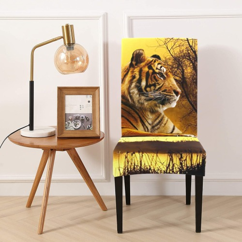 Tiger and Sunset Chair Cover (Pack of 4)