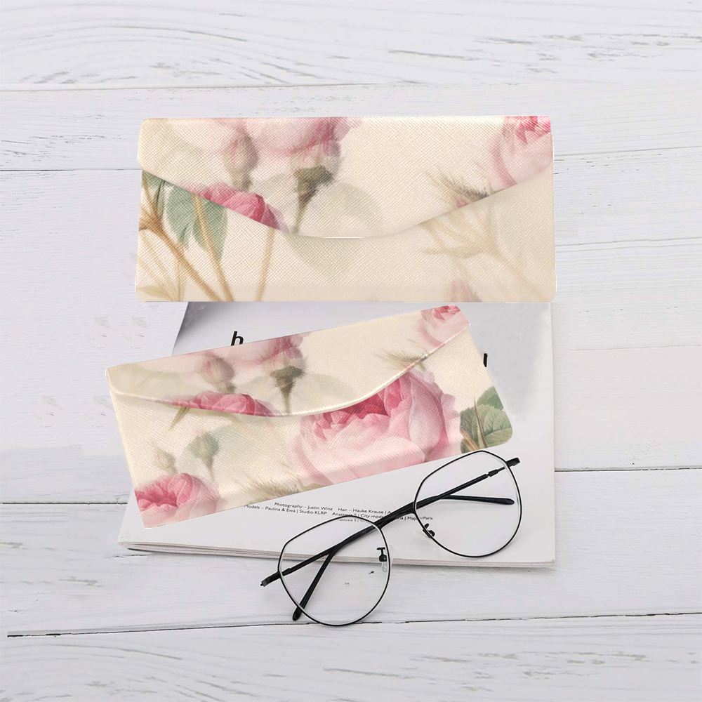 Vintage Pink Rose Garden Pattern Custom Foldable Glasses Case
