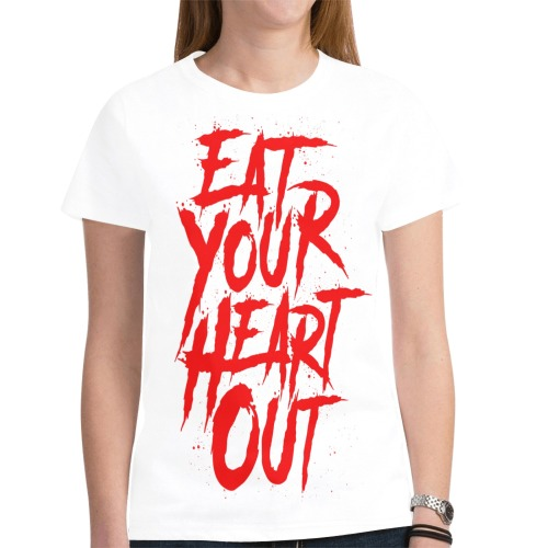 CritIcal Craze Eat Your Heart Out White New All Over Print T-shirt for Women (Model T45)
