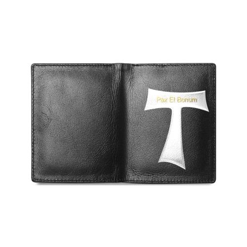 Franciscan Tau Cross Pax Et Bonum Silver Metallic Men's Leather Wallet (Model 1612)