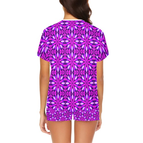 Bright Purple Floral Abstract Women's Short Pajama Set (Sets 01)